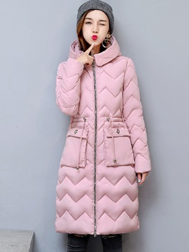 Ericdress Zipper Thick Mid-Length Lace-Up Coat
