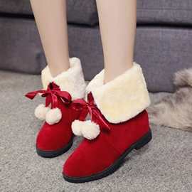 Ericdress Lovely Pompon Plain Snow Boots