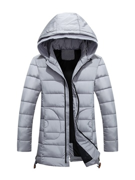 Ericdress Plain Hooded Zipper Thicken Warm Down Men's Winter Coat