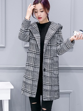 Ericdress Mid-Length Houndstooth Hooded Coat