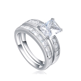 MarkChic Hot Radiant Cut White Sapphire Created Wedding Ring