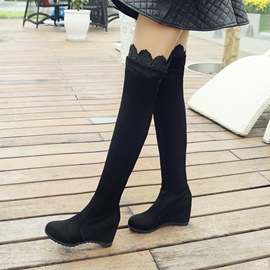 Ericdress Fashion Lace Patchwork Plain Knee High Boots