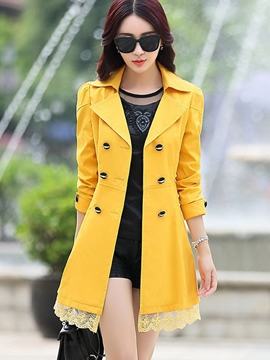 Ericdress Mid-Length Plain Double-Breasted Trench Coat