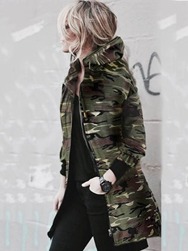 Ericdress Zipper Mid-Length Camouflage Trench Coat