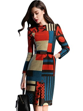 Ericdress Geometric Color Block Nine Points Sleeves A-Line Dress