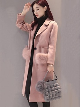 Ericdress Plain Notched Lapel Mid-Length One Button Coat