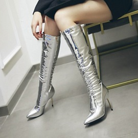 Ericdress Silver Side Zipper Stiletto Heel Knee High Boots