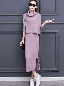 Ericdress Pile Collar Sweater and Dress Women's Suit