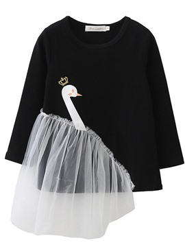 Ericdress Fashion Cartoon Swan Print Mesh Patchwork Baby Girl's Sweater