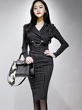 Ericdress Stripe Short Jacket and Bodycon Dress Women's Elegant Suit