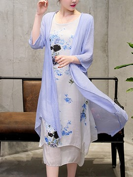 Ericdress Chinoiserie Asymmetrical Dress and Mid-Calf Shirt Women's Suit