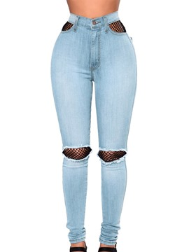Ericdress Skinny High-Waist Hollow Women's Ripped Jeans
