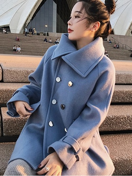 Ericdress Lapel Double-Breasted Mid-Length Coat