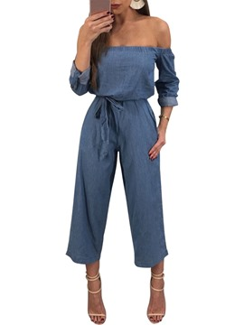 Ericdress High-Waist Ankle Length Off Shoulder Women's Jumpsuit