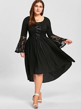 Ericdress Lace Patchwork Flare Sleeves Asymmetrical Plus Size A-Line Dress
