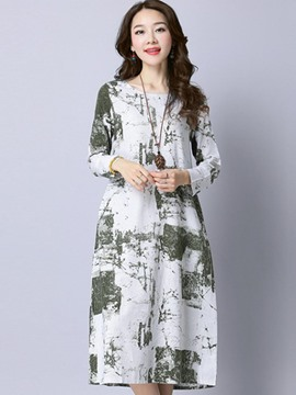 Ericdress Ink Print Long Sleeves Casual Dress