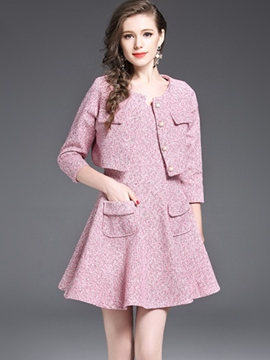 Ericdress Single-Breasted Jacket and A-Line Skirt Women's Elegant Skirt Suit