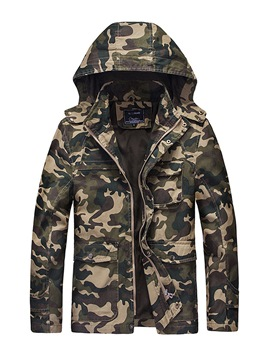 Ericdress Camouflage Hooded Zipper Slim Men's Jacket