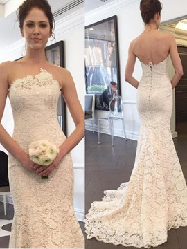 Ericdress Sexy Strapless Lace Wedding Dress
