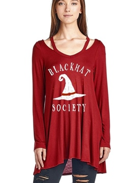 Ericdress Christmas V-Neck Letter Mid-Length T-shirt