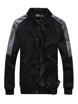 Ericdress Plain Patchwork Zipper Slim Men's Winter Coat