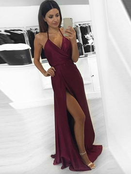 Ericdress A Line Halter Backless Long Evening Dress With Side Slit