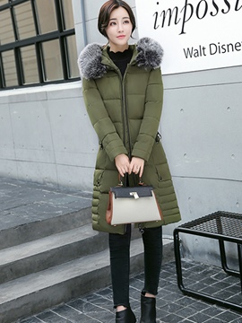 Ericdress Slim Fur Thick Hooded Down Coat