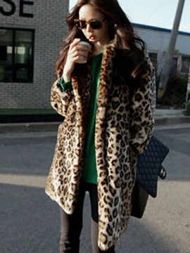 Ericdress Loose Mid-Length Leopard Velvet Coat