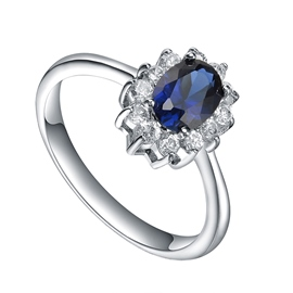 MarkChic Oval Cut Blue Sapphire Created Wedding Ring