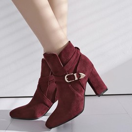Ericdress Buckle Plain Slip-On High Heel Boots