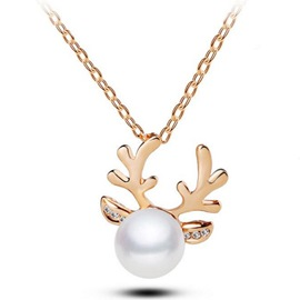 Ericdress New Style Diamante Imitation Pearl Deer Christmas Necklace