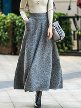 Ericdress Plain High-Waist Thick Women's Long Skirt