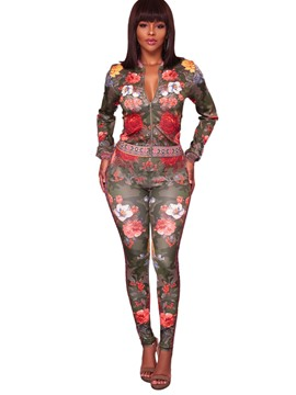 Ericdress Floral Print Jacket and Pants Women's Suit