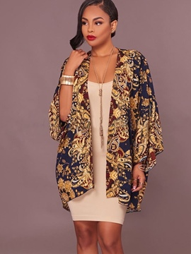 Ericdress Loose Print Mid-Length Trench Coat