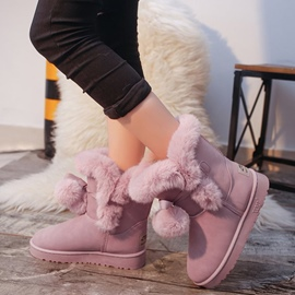 Ericdress Pompon Lace-Up Slip-On Snow Boots