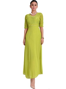Ericdress Lace Patchwork Hollow Half Sleeves Maxi Dress