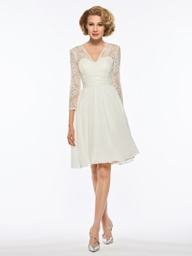 Ericdress V Neck 3/4 Length Sleeves A Line Knee Length Mother of The Bride Dress