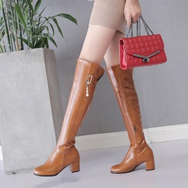 Ericdress Plain Chunky Heel Over The Knee Boots