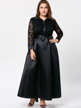 Ericdress Patchwork Lace-Up Lapel Plus Size Maxi Dress