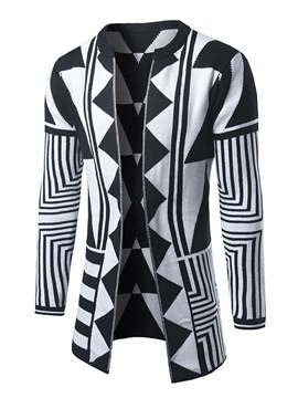 Ericdress Geometric Print Patchwork Vogue Slim Men's Cardigan Sweater