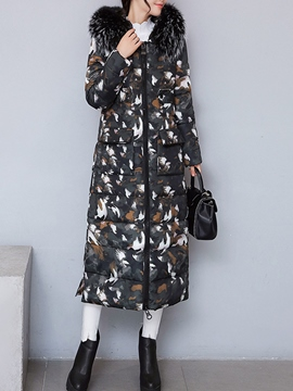 Ericdress Camouflage Zipper Long Coat