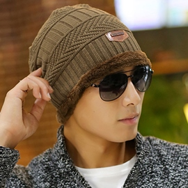 Ericdress Winter Hat Knit Cap Scarf for Men Knitted Hat