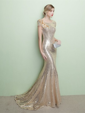 Ericdress Short Sleeve Scoop Neck Sequin Long Mermaid Evening Dress