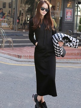 Ericdress Hooded Plain Long Sleeves Pocket Maxi Dress