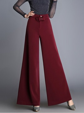 Ericdress Wide Leg High-Waist Loose Plain Women's Elegant Pants