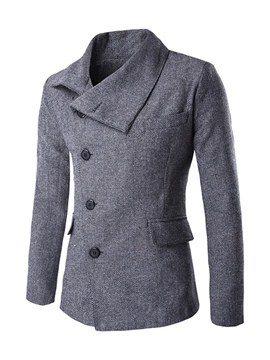 Ericdress Plain Lapel Single-Breasted Unique Slim Men's Woolen Coat