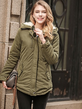 Ericdress Mid-Length Plain Pocket Hooded Coat