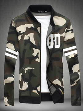 Ericdress Camouflage Lapel Zipper Sllim Men's Jacket