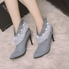 Ericdress Plain Fuzzy High Heel Ankle Boots with Beads