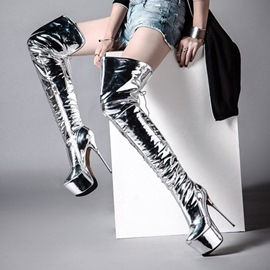 Ericdress Silver Lace-Up Platform Stiletto Heel Thigh High Boots